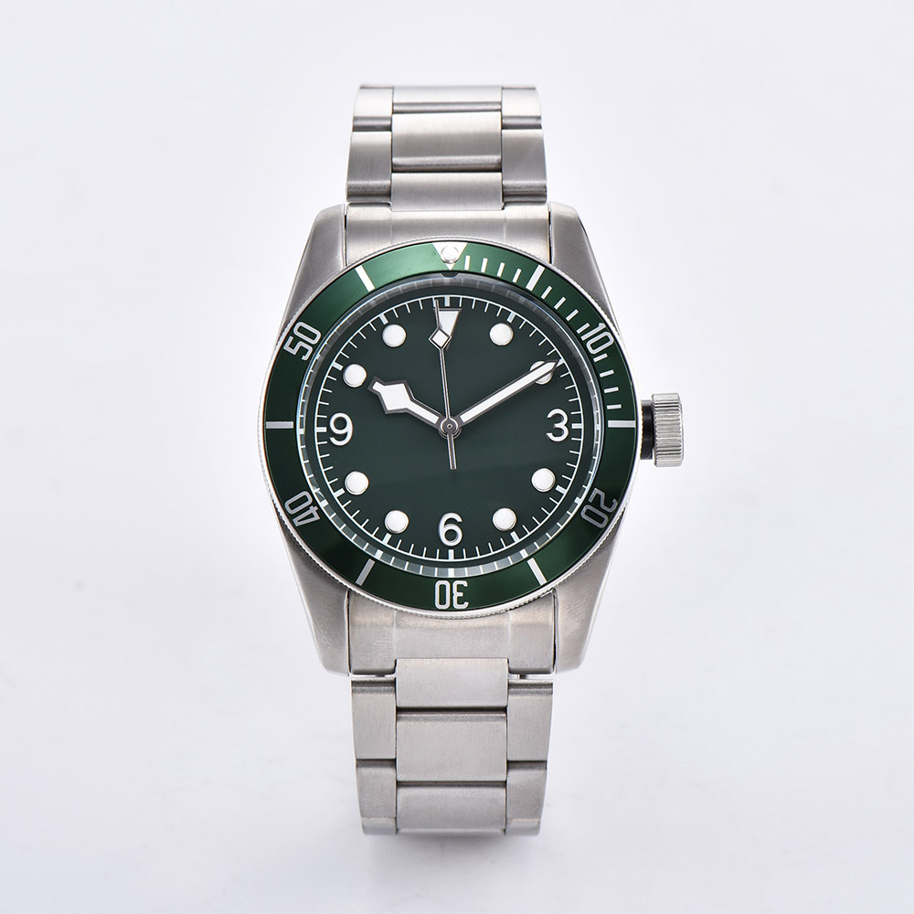 Watch Men 41mm Automatic mechanical watches green aluminum rotating bezel luminous Military men watch 23