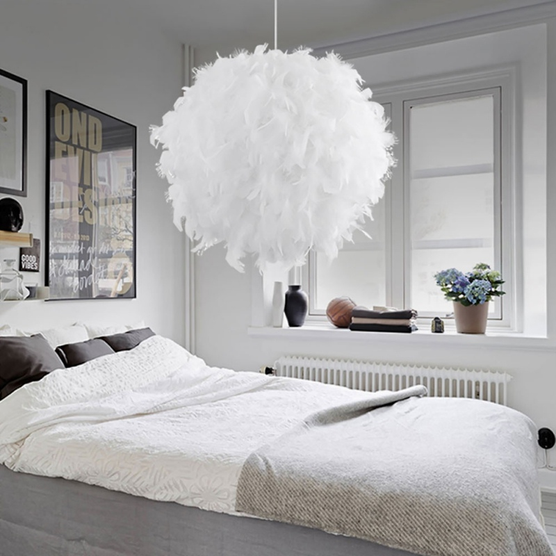 Unique White Feather Pendant Lights Household Romantic Feather Chandelier Modern Hanging Ceiling Lamps Suspension Luminaire