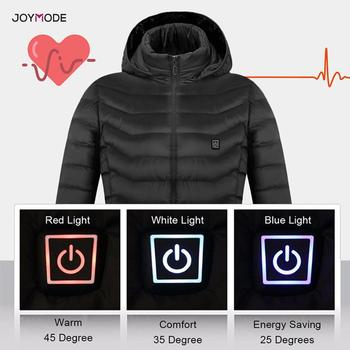 JOYMODE Men Women Heated Jackets Vest Down Cotton Outdoor Coat USB Electric Heating Hooded Winter Thermal Warmer Jackets 2