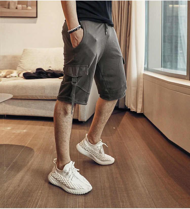 Pantalones cortos Cargo informales de verano para hombre, pantalones cortos masculinos con bolsillos, pantalones cortos militares, pantalones de chándal de talla grande K905