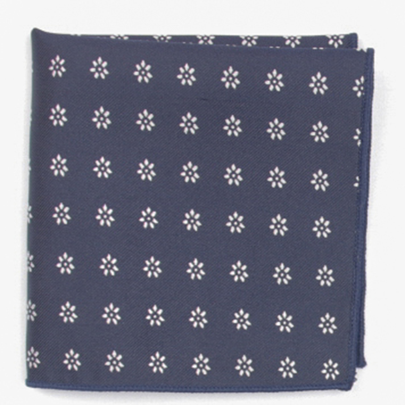 Navy Fashion Patterned Pocket Square With Patterns Handkerchief