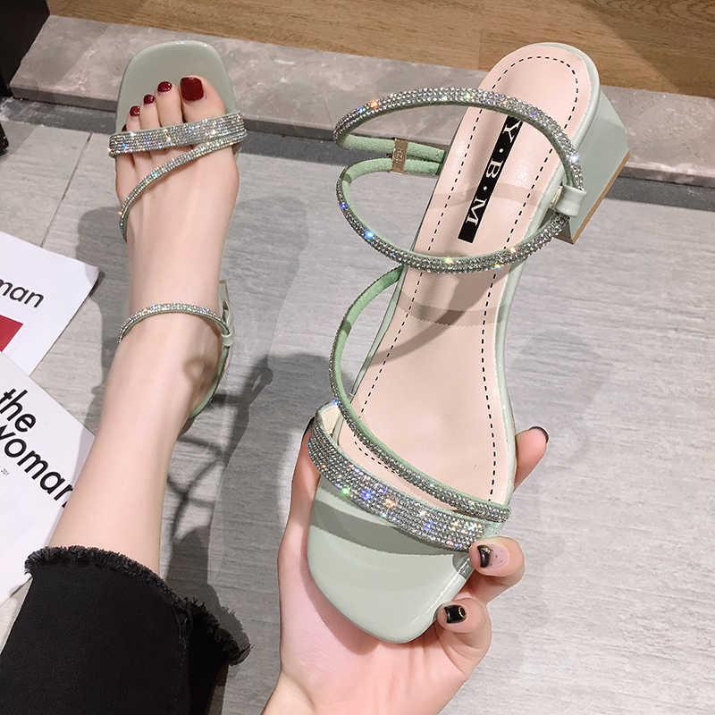 Frauen schuhe sandalen 2020 neue sommer mode strass offene spitze chunky ferse quadratischen kopf high heels