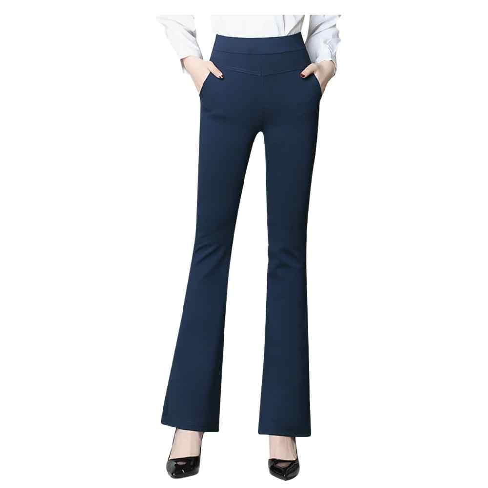 2020 Pantalones De Mujer Pantalones De Vestir De Alta Elasticidad Con Bolsillos Pantalones De Oficina Casual Pantalones De Traje De Senora Llamarada Pantalones De Mujer Dropship Pantalones Y Pantalones Capri Aliexpress