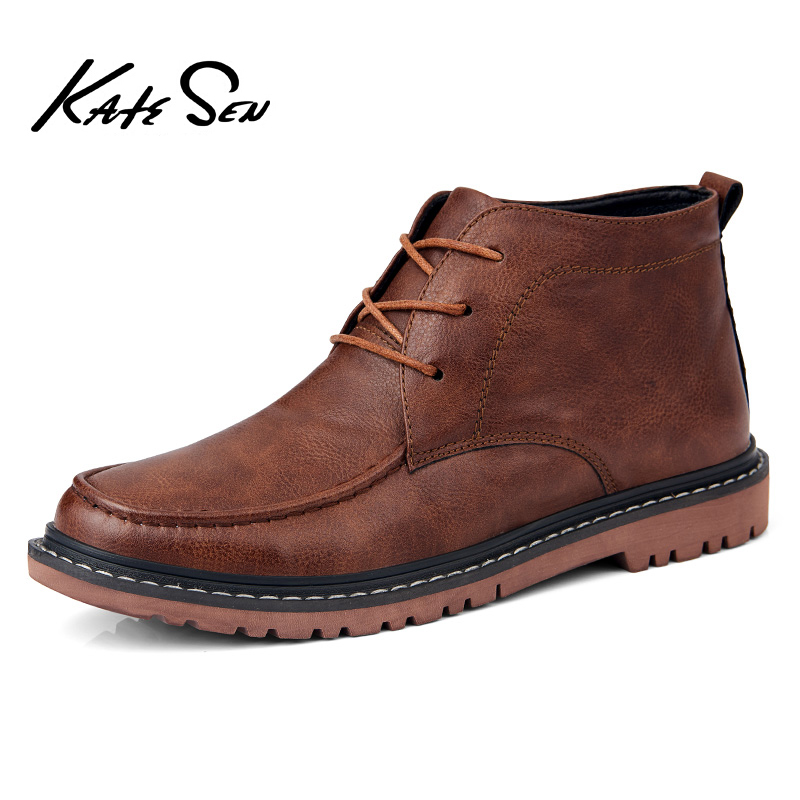 KATESEN 2019 New Men Boots High Quality Split Leather Mens Motorcycle Outdoor Waterproof Ankle Soft Shoes
