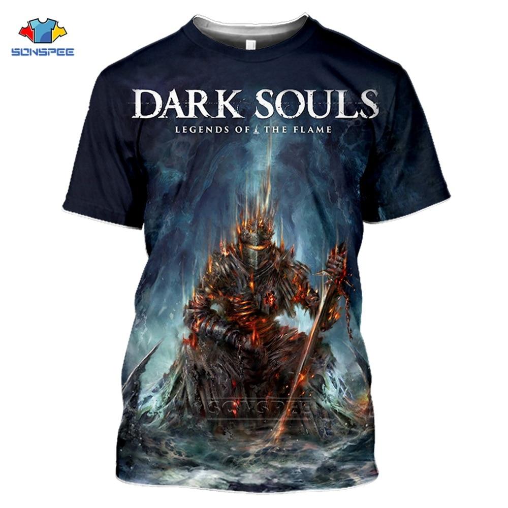 Sonspee 2020 verão moda masculina almas escuras t-shirts 3d impressão hip hop jogo t camisa feminina casual streetwear legal esporte topo camisetas