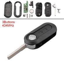 цена на 434MHz 3 Buttons Keyless Uncut Flip Remote Key Fob PCF7946 Chip for For-Fiat 500 Grande Punto 2010-2017 / Doblo 2010-Presente /