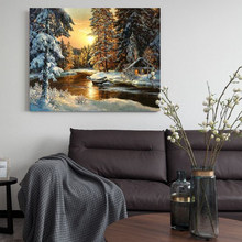 DIY digital painting forest trail landscape painting creative art living room hand-painted decorative painting decompression(China)