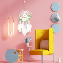 Wall Hanging Handmade Dream Catchers Feather With Artificial Flowers Lace Tassel