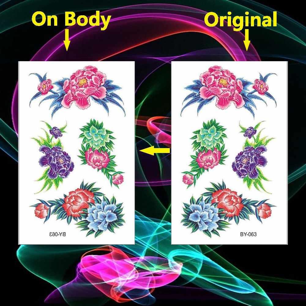 HOT Red Rose Henna Flower Temporary Tattoos for Girls Women Tattoo Sticker Leaf Custom Wholesale Tatoos Body Art Arm Leg Chest