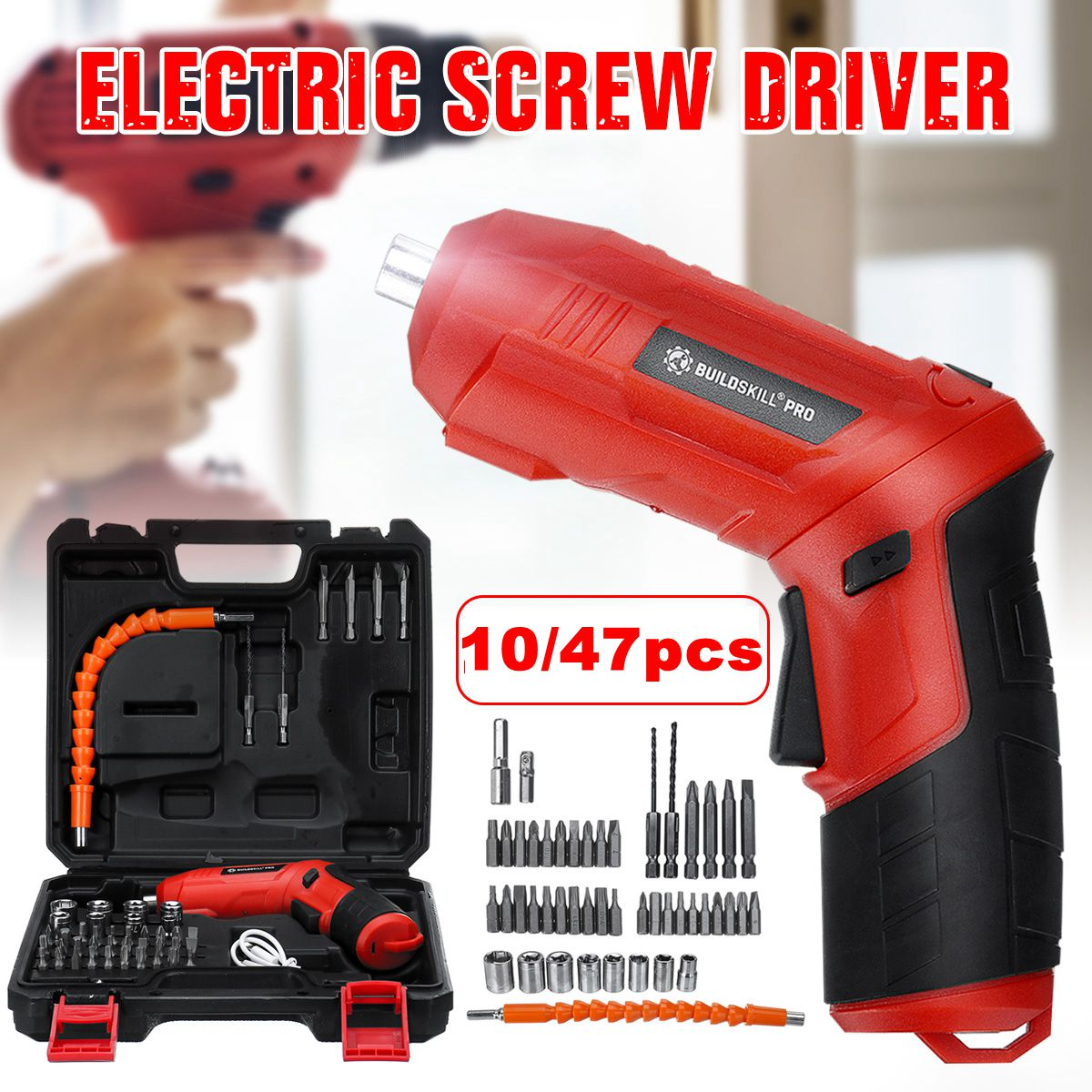 10/47pcs USB Electric Screwdriver Mini Electric Drill Set Screw Driver Rechargeable Li-ion Battery Cordless Power Screwdriver