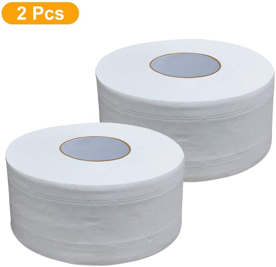 2PC Premium Jumbo Toilet Rolls Economical Paper Tissues Wholesale 4 Ply  White Thicken Large-Volume Toilet Towel Napkin Rolls