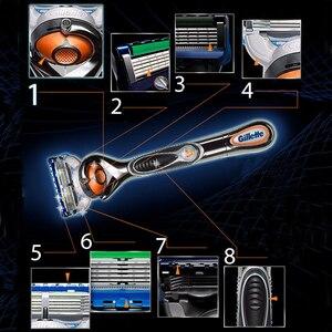 Image 5 - Gillette Fusion 5 golarka dla mężczyzn Proglide Flexball Power Safety Razors męska maszyna do golenia brody zasilany z baterii niski poziom hałasu