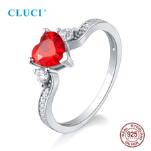 CLUCI Classic 925 Sterling Silver Big Red Heart Zircon Ring for Women Engagement Wedding Jewelry