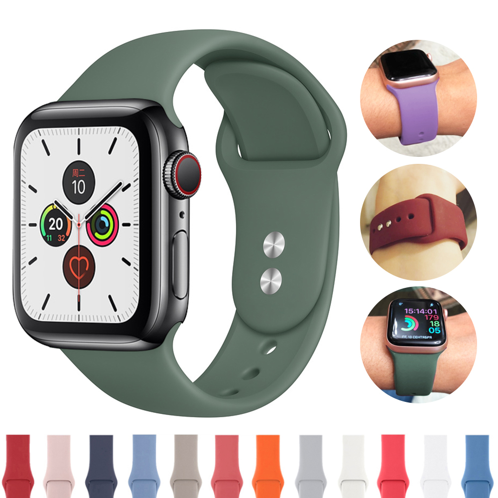 Watch Strap For Apple 38mm 42mm IWatch 5 Band 44mm 40mm Strap Sports Silicone Bracelet Watch Apple Correa 4 3 2 1 Accessories