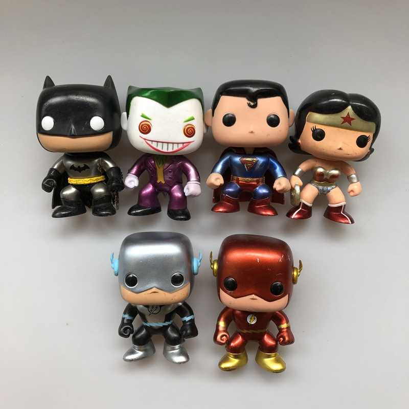Exclusive Original Funko pop Usado DC Metálico Flash Superman Mulher Maravilha Batman Vinyl Action Figure Collectible Modelo Toy Solto