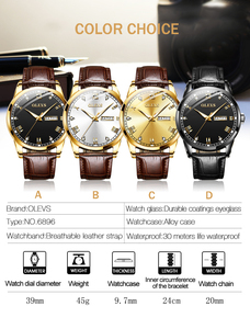 Image 4 - OLEVS Watch Men Brown Leather Quartz Auto Date Calendar Original Brand Waterproof Business Wristwatch Fashion Male