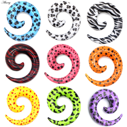 Alisouy 2PC Skull Heart Star Acrylic Spiral Ear Plug Stretching Tapers Piercing Body Jewelry Ear Tapers Fake Ear Expander Tunnel