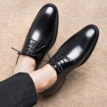 DIY Brand Shoes men's luxury single shoes wedding Oxford square toe lace men formal dress office Derby shoes men's shoes