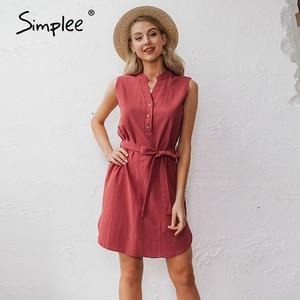 Image 2 - Simplee Vestido corto de algodón sin mangas, vestido elegante de mujer para oficina, liso, con cuello de pico y una sola hilera de botones para verano