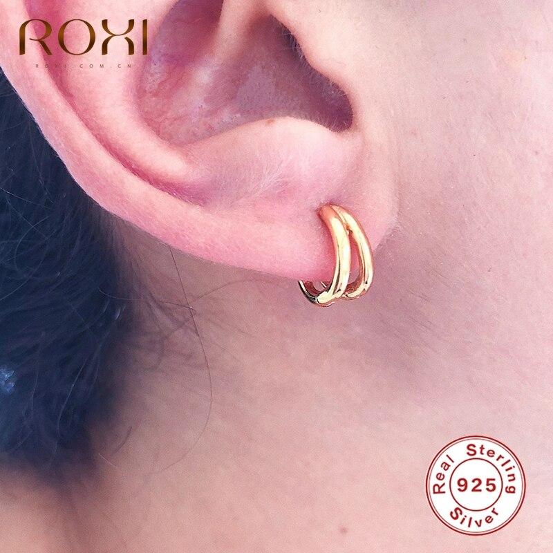 ROXI Glänzend Kleine Doppel Runde Hoop Ohrringe für Frauen Mädchen Geburtstag Hochzeit Ohrringe 925 Sterling Silber Schmuck Ohrringe