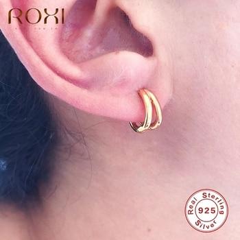 ROXI-pendientes redondos de aro doble pequeña brillante para mujeres y niñas
