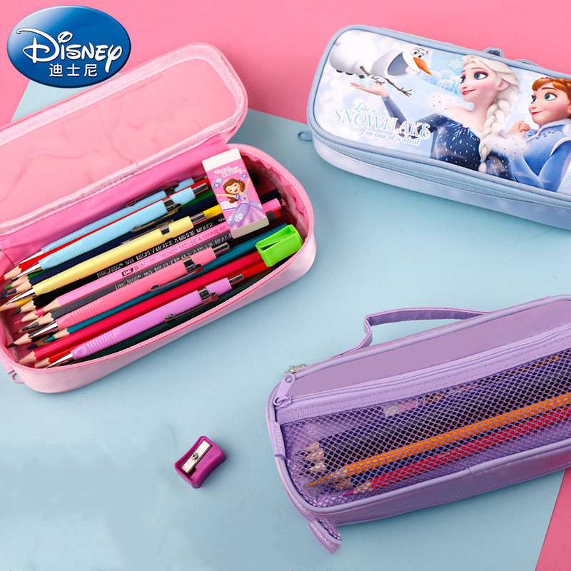 Disney Waterproof And Easy To Clean Stationery Box Frozen Cute School Supplies Elsa EVA Pencil Case Girl Kawaii Gift