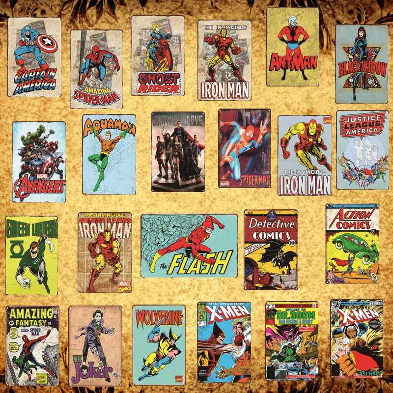[Luckyaboy] Superhero Batman Iron Man Spiderman X Men Vintage Metal Signs Marvel Comics Poster Pub Retro Home Decor Plate  AL004