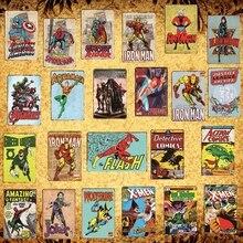 [Luckyaboy] Superhero Batman Iron Man Spiderman X Men Vintage Metal Signs Marvel Comics Poster Pub Retro Home Decor Plate  AL004