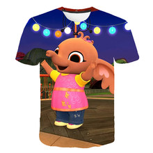 2021 novo bing coelho dos desenhos animados camiseta meninos & meninas topo 3d-impresso bonito camiseta crianças roupas de manga curta verão casual topo 4-14t