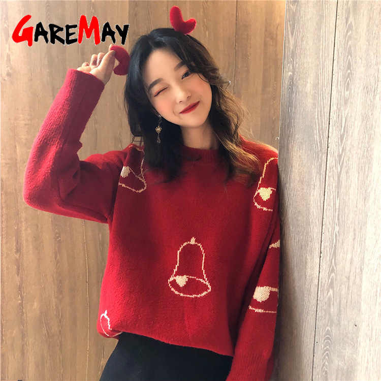 GareMay Women's Christmas Sweaters Pullover Autumn Winter Women Basic Pullover Ladies Warm Sweaters for Women Knitted Sweater