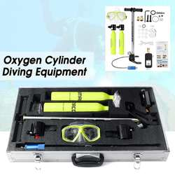 2 sauerstoff Zylinder 9-in-1 Tauchen Ausrüstung Set Air-Tank Scuba Ersatz Atmen Brille Regler Gears box Atem Unterwasser