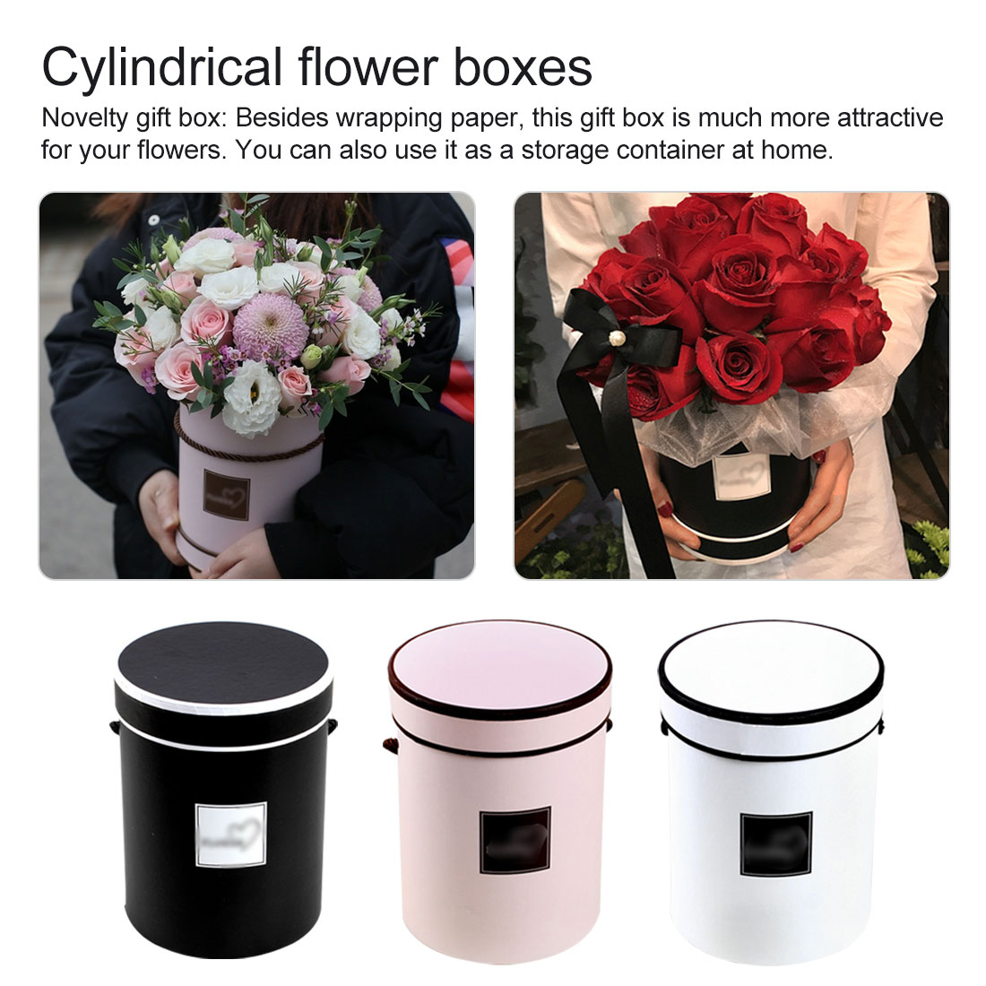 14*18 Cm Home Decorations Flower Bouquet Holder Round Flower Paper Boxes With Lid Hug Bucket Florist Gift Packaging Box