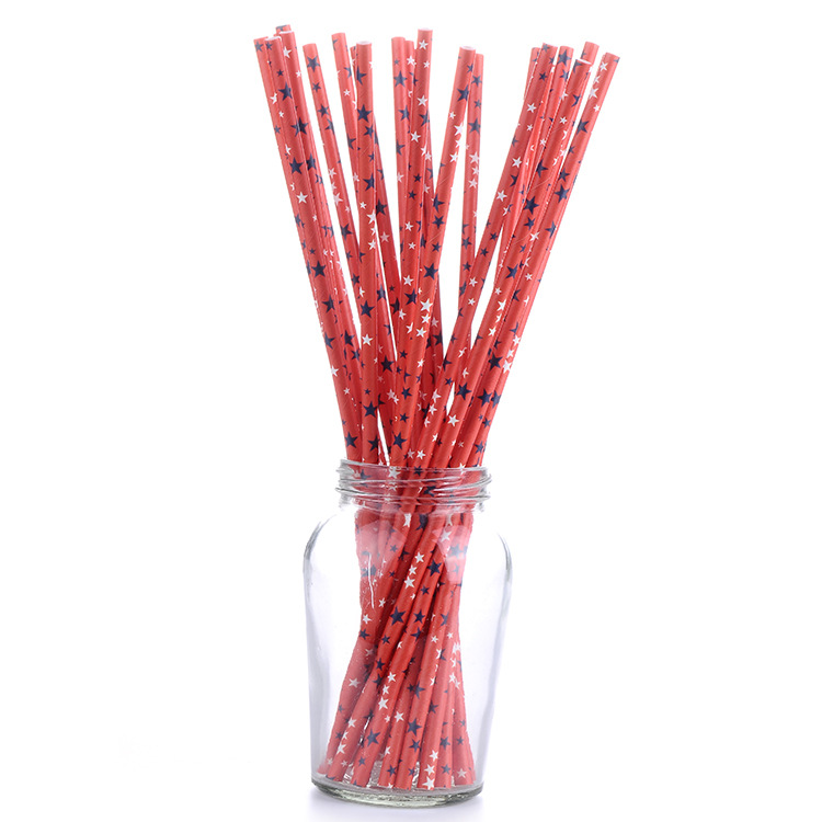Five-pointed Star Milk Fruit Juice Paper Straw Over America FBI Quality Detection Environmentally Friendly Biodegradable Kraftpa