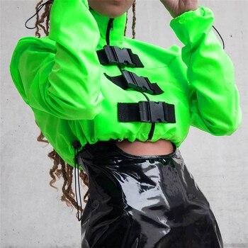 New Neon Green Women Zipper Buckle Casual Windbreaker Jacket Long Sleeve New Fashion Streetwear Elastic Drawstring Coat 2019