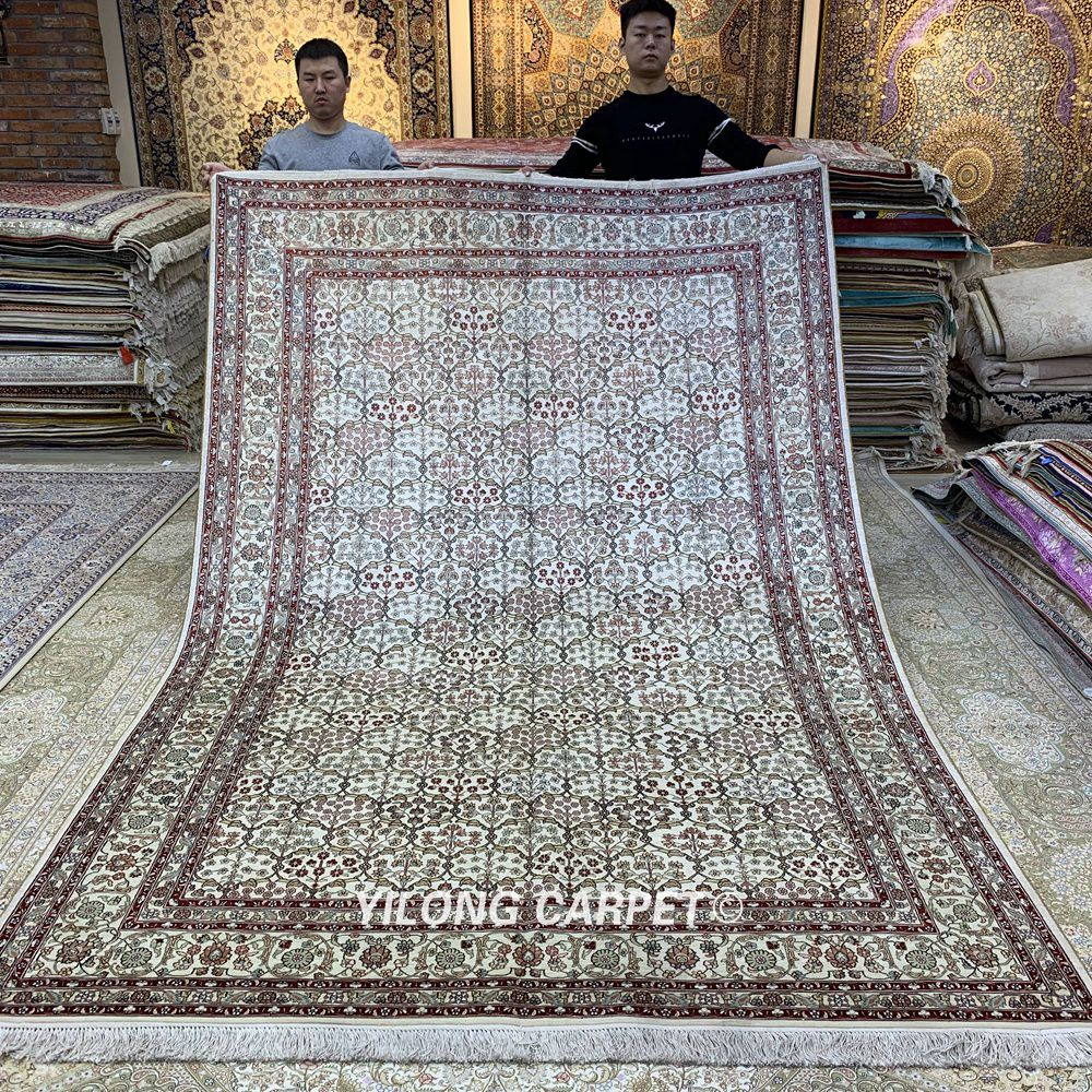 Yilong 6.56'x9.84 'Klasik halı bej antik madalyon Keşmir el - Ev Tekstili