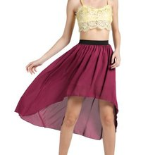 Promotion Women's Stretch Waist Irregular Chiffon Midi Skirt Woman Ladies Plus Size 3XS-8XL High Low Chiffon Dovetail Skirts