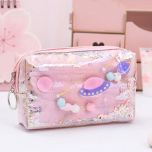 2019 Cute Pencil Case Laser Leather Pen Box Big Makeup Bag For Girls Gift Coin Bag Fashion PVC Toiletry Cosmetic Bag Case Pouch
