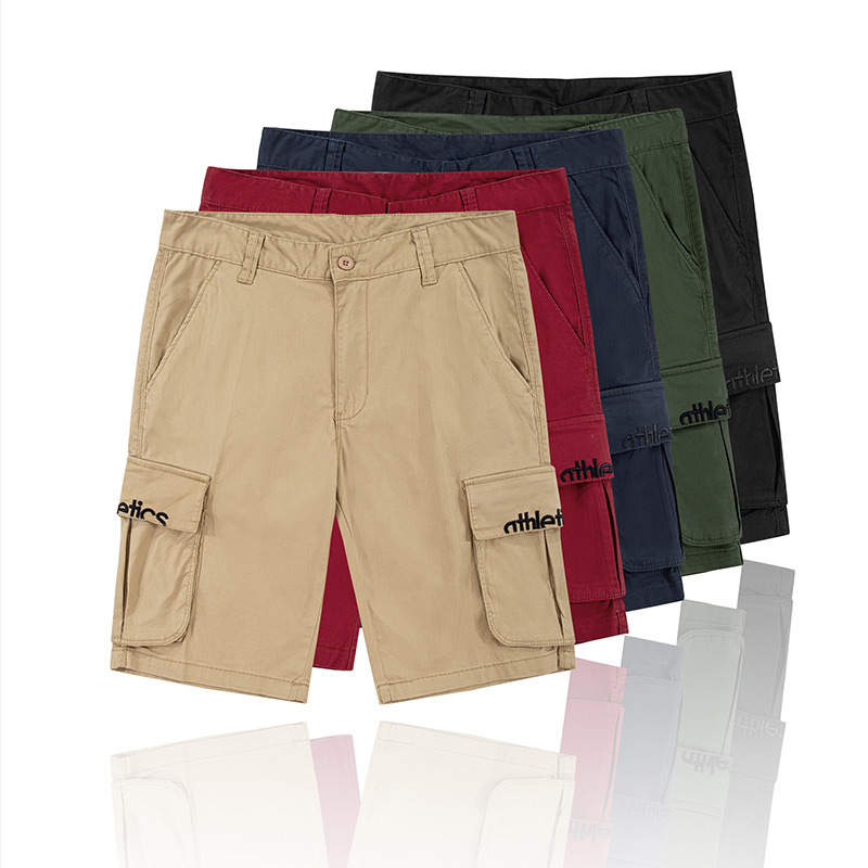 Pantalon Hommes Multi-poches Plage D'été Respirant Coton Solide Mode Décontracté Extérieur Coupe Droite Homme Court Pantalon Cargo