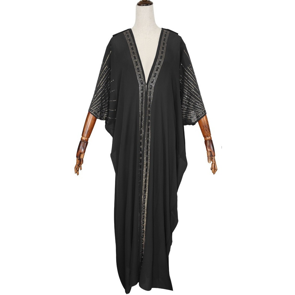 Длина 140 см, красная африканская одежда, африканские платья для женщин, мусульманское длинное платье, высокое качество, длина, модное Африканское платье для леди - Цвет: Черный