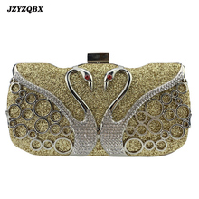 Luxury Crystal Bags Women Evening Rhinestone Swan Clutch Handbags Designer