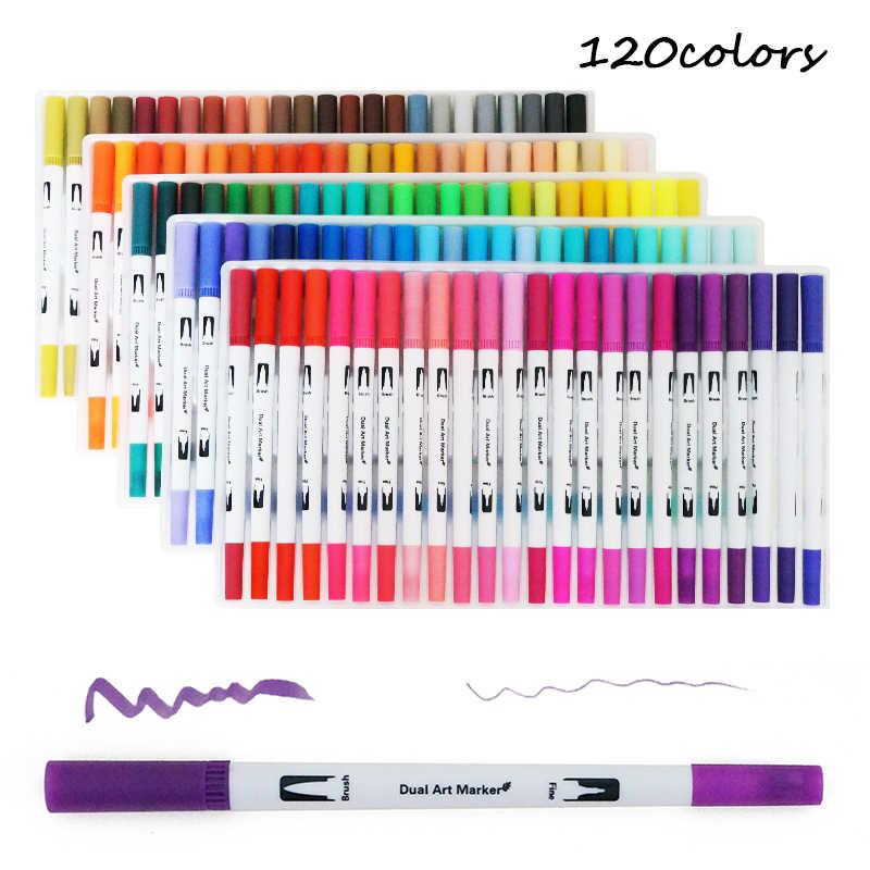 100 renk sanat Markers çift ipuçları boyama fırçası fineliner renk su işaretleyici okul sanat malzemeleri çizim boyama kitabı