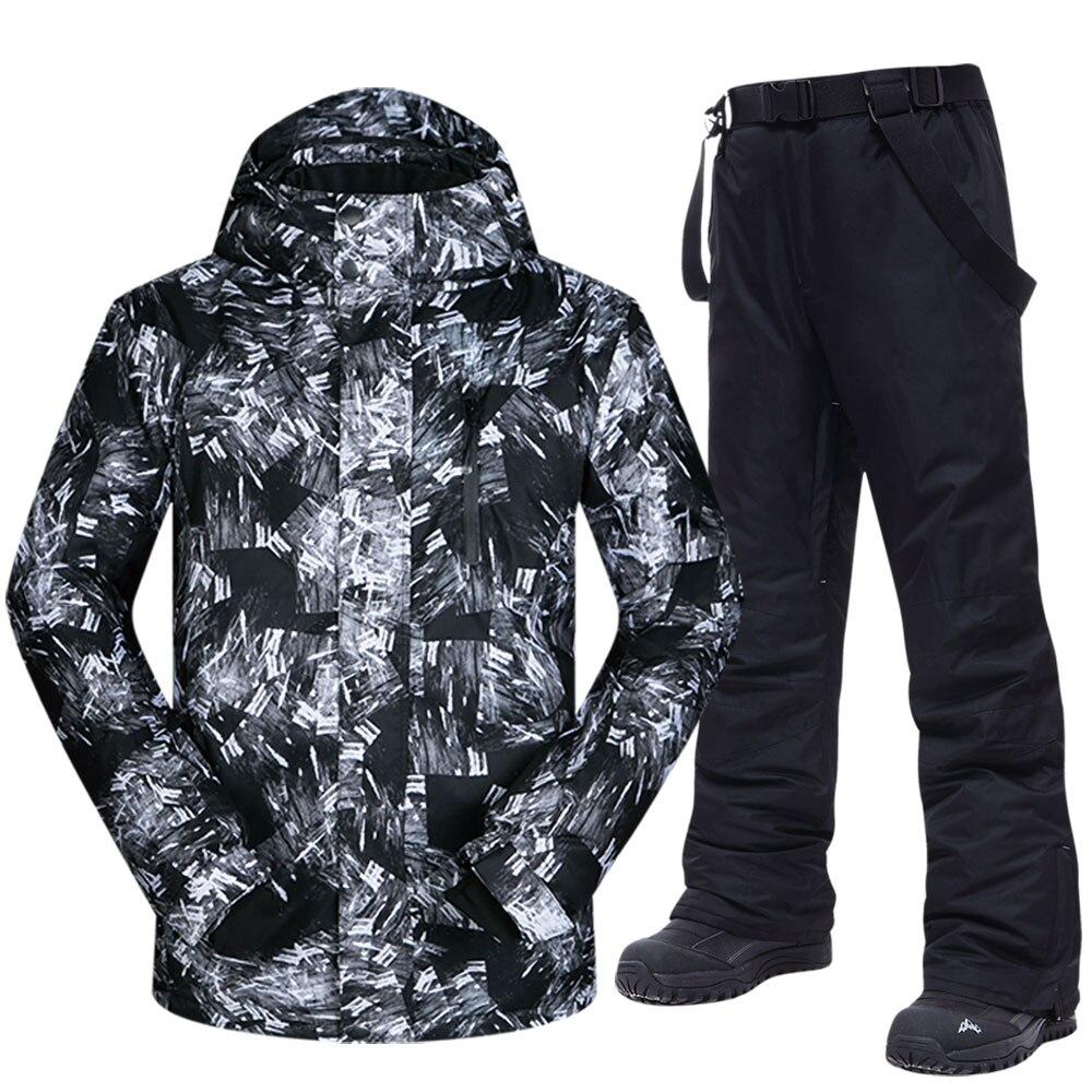 Новый лыжный костюм, мужские зимние теплые ветрозащитные водонепроницаемые спортивные зимние куртки и штаны для улицы, горячее лыжное снар...