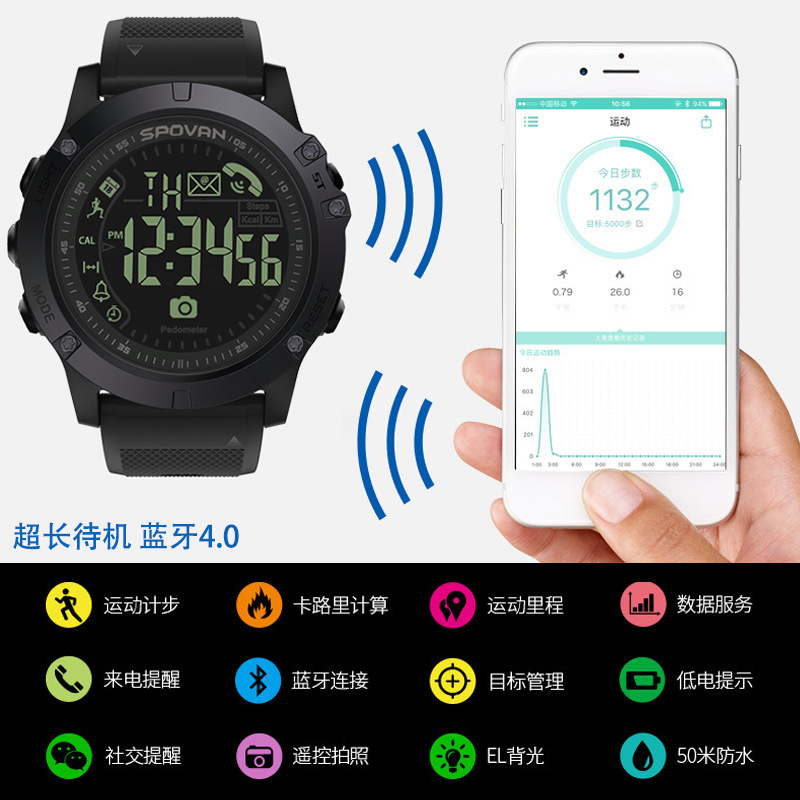 T1 OEM Bluetooth Smart Watch Outdoor Fitness Movement Call Reminder Step Waterproof Round Electronic Watch