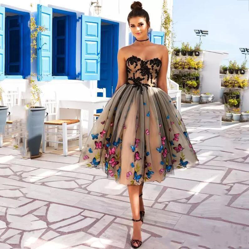 2020 New Fashion Evening Dress Ball Gown Colorful Butterfly Sweetheart Lace Party Bandage Halter Formal Dresses 1