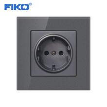 цена на FIKO Wall Crystal Glass Panel Power Socket Plug Grounded, 16A EU Standard Electrical Outlet 86mm * 86mm