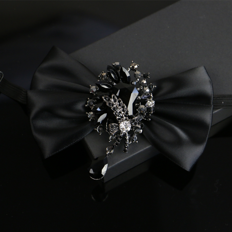I-Remiel Diamond Ribbon Flowers Bow Tie For Men Suit Dress Tuxedo Shirt Collar Bows Wedding Groom Bowknot Ties Musical Neckties