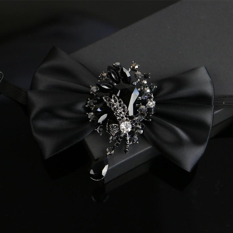I-Remiel Diamond Ribbon Flowers Bow Tie For Men Suit Dress Tuxedo Shirt Collar Bows Wedding Groom Bowknot Ties Musical Neckties