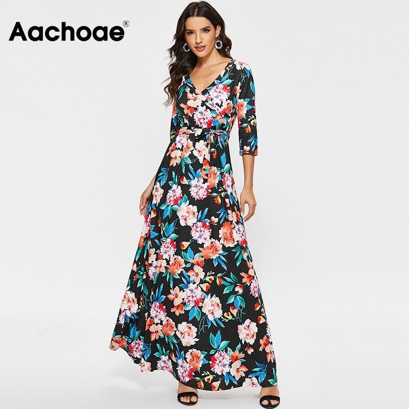 Spring New Women Floral Print Maxi Dress Vintage Half Sleeve Elegant Long Dresses Ladies V Neck Casual Boho Dress Vestidos