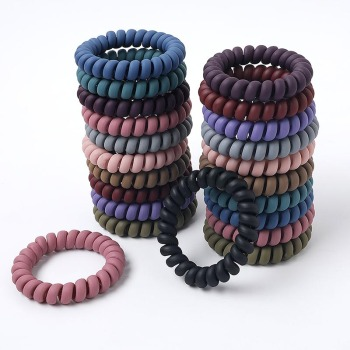1PC Telephone Wire Elastic Hair Bands Women Fashion Candy Colors Rubber Band Matte Color Glow in Dark Seamless Hair Accessories image