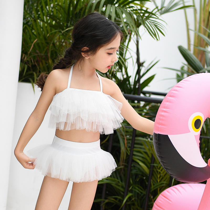 Korean-style Angel Baby Bathing Suit Women's Split Skirt-Cute Bikini Soft Gauze Children Princess Swimwear